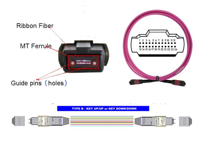 Fiber Optical 24 MTP MPO Patch Cord 5M OM4 24 Core Magenta Low Loss 0.3dB type B 0