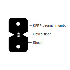 China KFRP Fiber Optic Network Cable GJXFH 1G657A2  Black White Color Multi Size supplier