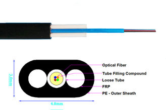 China FRP Mini Fiber Optic Armoured Cable Flat Drop Tube Lightning protect NO Loose supplier