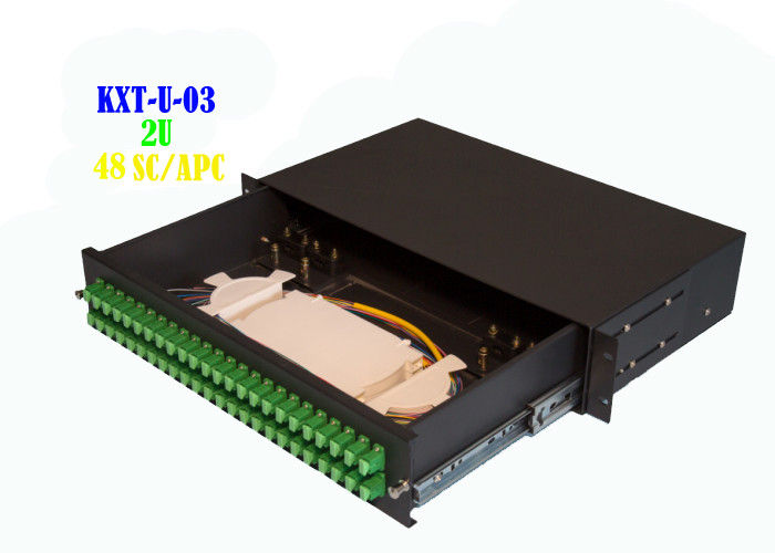 Network 2U 48 Core Rack Fiber Optical Patch Panel Hand Pull Type 482mmx240mm