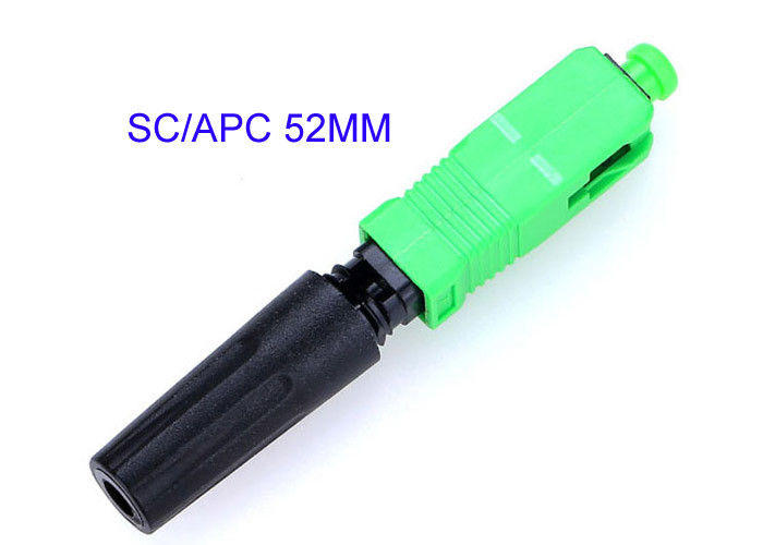 SC-APC Quick Connect Fiber Optic Connectors 0.3dB Insertion Loss Easily Installed 52MM
