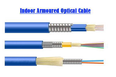 1 ~ 24 core Single Mode Armored Fiber Optic Cable Computer Room 0.9 Tube SOS Indoor