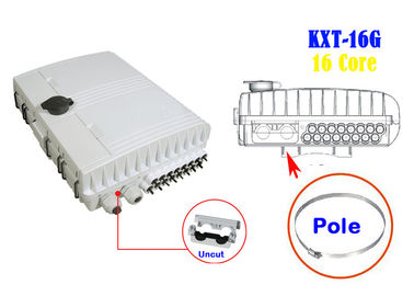 China 2 Into 16 Out Overhead Fiber Optic Distribution Box Splicing Black Holding Pole Gray factory