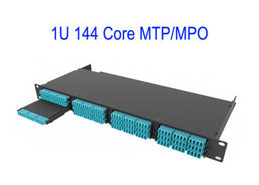 China 1U 144 Core Fiber Optical MTP MPO Patch Cord OM4 12 Core Boxes Magenta Low Loss 0.3dB distributor