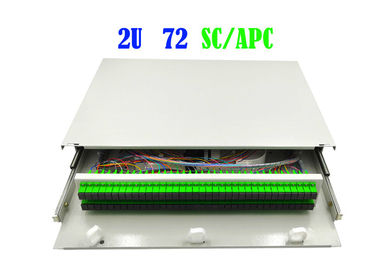 2U 72 Core Rack Rack Fiber Patch Panel Cable Termination 482mm X 240mm Hand Pull Type