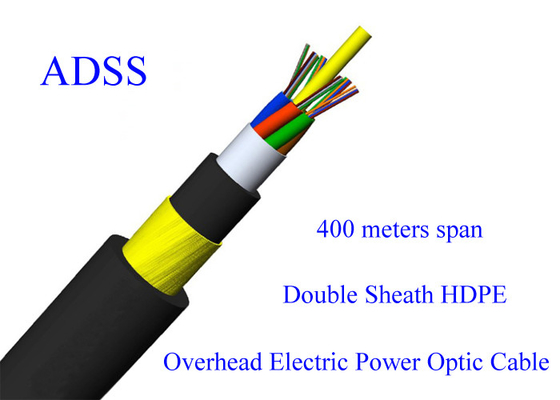 ADSS Fiber Optic  Armoured Cable G652D 48B1.3 11KN Span 400M 13.4mm 48 Core PE HDPE