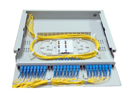 China 1.4U SC LC Rack Fiber Patch Panel 24 48 Port Top Transparent Cover For Easy Observation factory