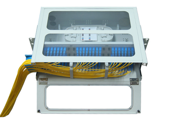 SC LC Rack Fiber Optic Patch Panel 48 96 Port 19 U Sliding Type Transparent Top
