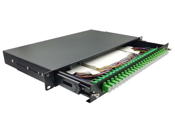 24 Ports SC/APC ODF Rack Fiber Patch Panel 1U 19 Inch Standard Frame Type Pull - Out