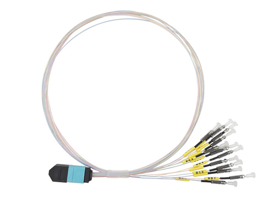 China 40G MTP MPO To LC Bare ferrule OM3 Patch Cord Multimode Fiber Optic Cable USCONEC factory