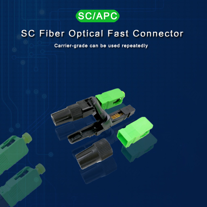 FTTH SC APC Fiber Optic Quick Connector Can be reused 55 mm Long Fast Connector